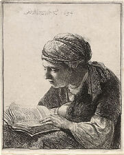 Rembrandt Etching Reproductions: A Woman Reading & An Old Man: 2 Fine Art Prints