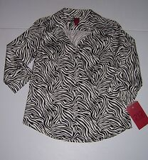212 COLLECTION WOMEN'S ZEBRA PRINT BUTTON UP TOP BLOUSE SIZE PETITE SMALL NWT!