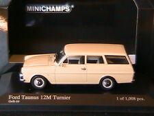 FORD TAUNUS 12M TURNIER 1962 GELB 64 MINICHAMPS 400086111 1/43 CREAM BREAK VITRE