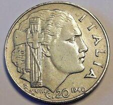 1940 XVIII Regno D'Italia 20 cent magnetic Mussolini