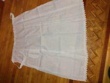 Vintage Handmade Prairie white, Floral Skirt Lace White Ruffle Apron Pioneer
