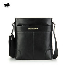 Men Cowhide Leather Casual Flight Shoulder Briefcase Handbag School Sports Bag