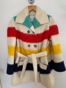 Genuine Vintage Hudson Bay Blanket Jacket Coat - Womens Large- Excellent -Wool