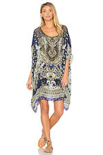 new CAMILLA FRANKS SILK SWAROVSKI A LITTLE PAST TWILIGHT SHORT ROUND NECK KAFTAN