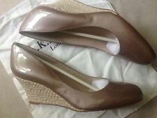 LK Bennett Zella Champagne Nude Pearl Patent Leather Wedge Heel Shoes 8.5 41.5