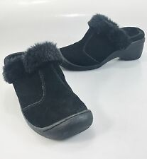 "Barefoot by Sporto Juliet Black Suede Fuzzy Lined Slides Clogs 2"" Heels Shoes"
