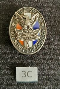 Vintage Type 3c Sterling Silver Eagle Boy Scout Hat Pin Medal Award Rank
