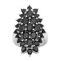 925 Sterling Silver Cluster Black Spinel Full Finger Long Statement Wedding Ring