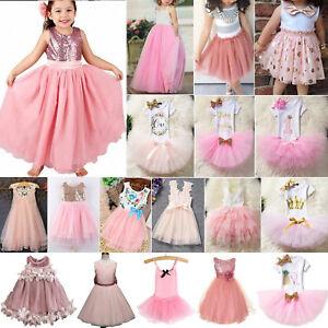 Kinder Mädchen Prinzessin Tutu Tüll Kleider Sommer Hochzeit Festlich Partykleid
