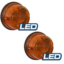 LED Round Trailer Lamp 12v 5 Amber LED Lights 79mm x 42mm Prewired PAIR