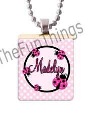 Custom Name Ladybug Scrabble Tile Pendant Jewelry Recycled Tile Personalized