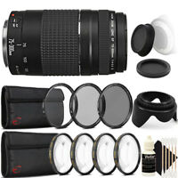 Canon EF 75-300mm f/4-5.6 III Lens + UV CPL Filter Kit for Canon T7 T7i T4i