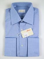 NWT $625 BRIONI Blue Cotton Slim Fit French Cuff Dress Shirt 38/15