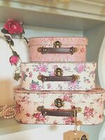 Vintage Rose Suitcase Set of 3 Floral Shabby Chic Storage Boxes / Cases Roses