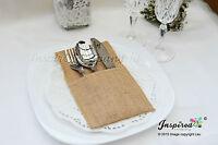 Wedding Hessian Burlap Cutlery Holders Table Set Up Centerpiece Party Plain