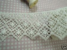 Vintage Style Scalloped Embroidered Cotton Crochet Lace Trim 6.5cm WD 1yd