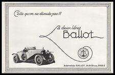 Publicité Automobile Ballot la 2 litres  car vintage print ad  1926 - 2h