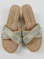 LA COMODA ITALY Brown Leather Wedge Platform Heel EUR 37 Sparkle Mule Slide