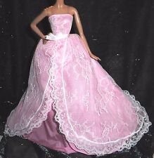 EVENING W ~ DRESS~BARBIE DOLL MODEL MUSE PINK LACE BIRTHDAY WISHES GOWN CLOTHING