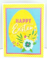 HAPPY EASTER Flower On Egg Holiday Greeting Card - Handmade A7 Size