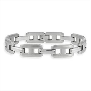 "Stainless Steel ""I"" and Single Bar Men's Link Bracelet"