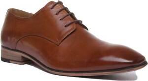 Justin Reece Smart Chisel Toe Brown Designer Leather Lace up Shoe Size UK 6 7 8