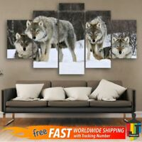 5 Pcs Home Decor Canvas Print Painting Wall Art Modern Wolf Wolves Snow Wild