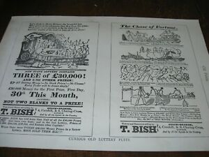 1894 Art Print Engraving - Advertising for LOTTERY Ad Puffs FORTUNE Playbill Ads
