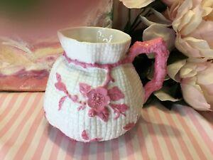 "Vintage Majolica White w/Pink Flowers & Vines Basket Weave 5"" Pitcher Marked"