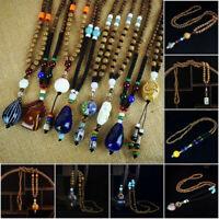 Women/Men Vintage Ethnic Nepal Buddhist Wood Beads Statement Necklace  Jewelry
