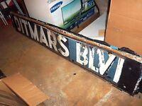 RARE NYC SUBWAY SIGN CIRCA 1917 PORCELAIN DITMARS AVE NY BOULEVARD IRT ELEVATED