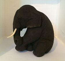 Teak Wooden Sitting  Basfhful Elephant Trunk Down 15cm tall Fair Trade