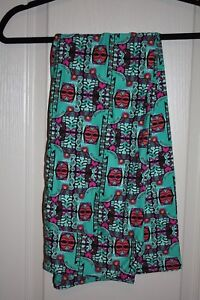 LuLaRoe - Leggings - Green w black & pink geom - Size T/C - NEW with tags