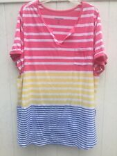 Woman Within Blouse Pink Stripe Bright SZ 3X —-A1