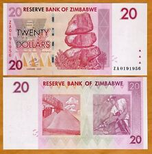Zimbabwe, $20, 2007 (2009) P-68r, UNC > Scarce ZA Replacement