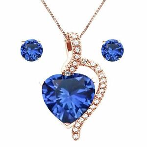 4.10Ct Heart Cut Blue Sapphire Rose Gold Over Silver Heart Pendant and Earrings