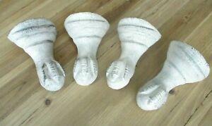 4 Cast Iron Bathtub Claw Foot Feet Bath Tub Legs Reproduction Distressed White