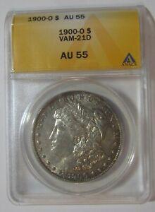 1900-O Morgan silver dollar VAM-21D...Near date/high O/die breaks...ANACS AU 55