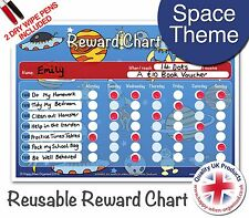 Easy to Use & Reusable Space Kids Child Reward Behaviour Chart - 2 Dry Wipe Pens