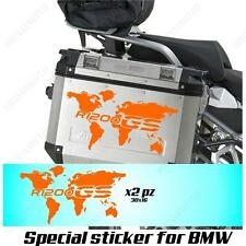 PAIR OF STICKERS WORLD MAP BMW R 1200 GS LC GLOBE FOR SIDE CASES ORANGE