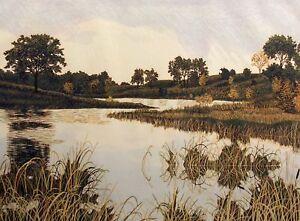 "Gordon Mortensen ""Autumn Sunset"" Signed Woodcut Reduction Art lake landscape OBO"