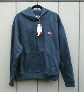 Ladies Tommy Jeans Hoody Badge Hoodie Navy Blue Large UK 14 Brand New With Tags