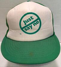 Just Say No Trucker Hat Cap SnapBack Vtg 80s Green Reagan Era