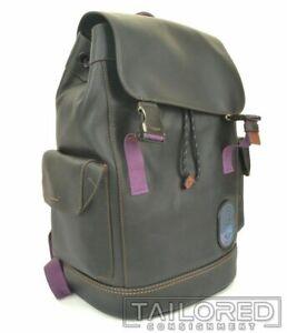 NEW - COACH Rivington Black Leather w/ Coach Details Luxury Backpack 69299