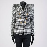 BALMAIN 2295$ Double Breasted Blazer In Black & White Houndstooth Pattern Cotton
