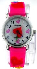 Geneva 3D Colorful Hearts Pink Rubber Band Kids Watch WA504