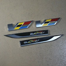 2PCS Chrome V Emblem Sticker + Pair Black Sharp Side Badge 3D Auto ats Luxury #5
