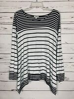 Umgee USA Boutique Women's S Small Black White Striped Cute Knit Tunic Top Shirt