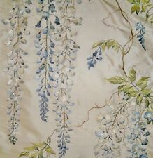 COLEFAX & FOWLER WISTERIA EMBROIDERED SILK FABRIC 10 YARDS BLUE GREEN CREAM