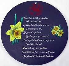 Welsh NATIONAL ANTHEM design circular WELSH SLATE WALL PLAQUE,   Cymru/ Wales